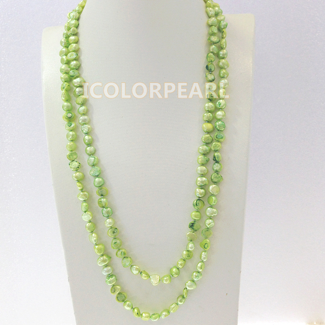 120CM  Long 7-8mm Apple Green Natural Cultured Freshwater Pearl Sweater Jewelry Sweater Necklace.