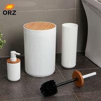 ORZ Bad Pinsel Set Wc Reiniger Reinigung Pinsel Halter Abfall Papierkorb Dusche Gel Nachfüllbare Flasche Bad Zubehör-in Badezimmer Zubehör-Sets aus Heim und Garten bei