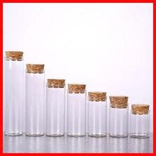 10/15/25/30/40/50/60/80 ml sevimli temizle cam şişe mantar stoper boş baharat şişe kavanoz DIY el sanatları şişeleri 100 adet/grup