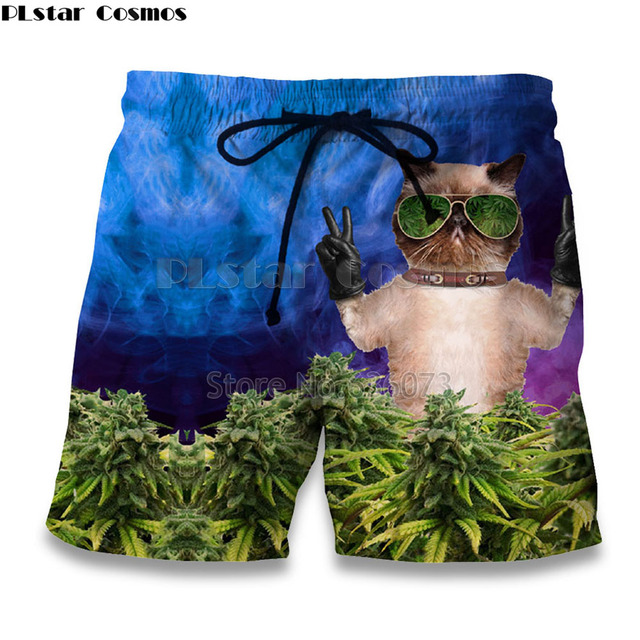 PLstar Cosmos Funny white cat and Weeds Print Casual shorts
