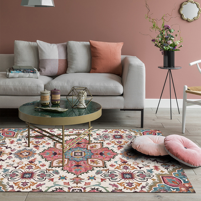 Nordic national wind flower carpet Indian modern home living room bohemian bedroom coffee table crystal Velvet