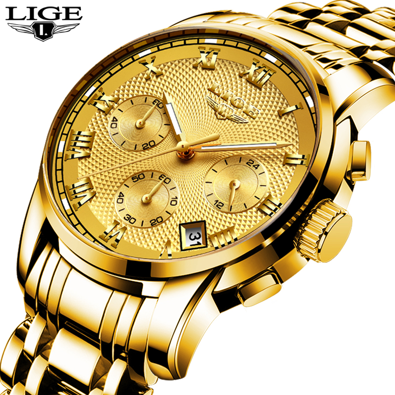 LIGE Mens Watches Top Brand Luxury Sport Quartz Watch Men Business Full steel Clock Man Waterproof