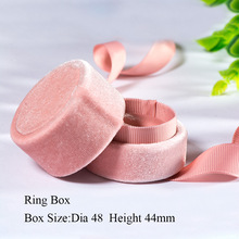 pink velvet round bow jewelry box for wedding engagement ring earrings necklace bracelet stand for jewelry