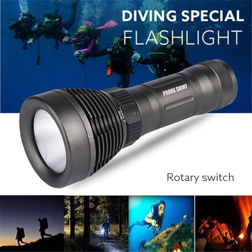PROBE SHINY Super Underwater 500M 5000LM XM-L T6 LED Diving Flashlight Waterproof 18650&26650 Torch Copper Dropshipping 0202