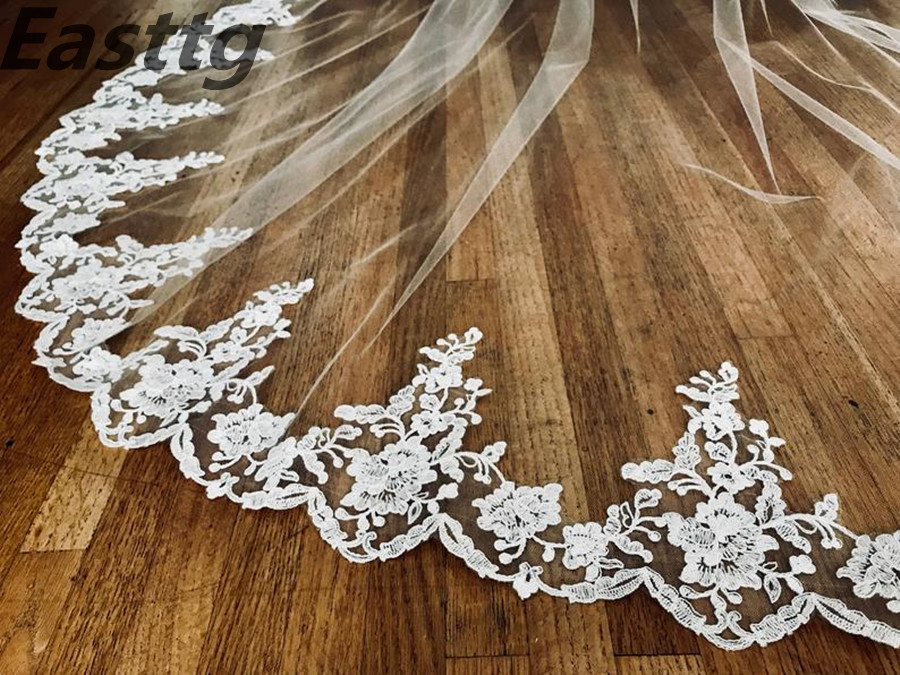 Wedding Accessories White/Ivory Wedding Veil 3m Long with Comb Lace Mantilla Cathedral Bridal Veil Veu De Noiva Real Photos