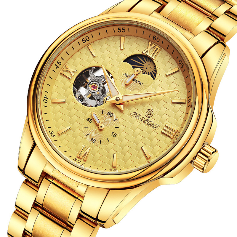 SENORS luxury mens watches 18k Gold-plated 316L stainless steel Mechanical Wristwatches Automatic waterproof male brand clocks