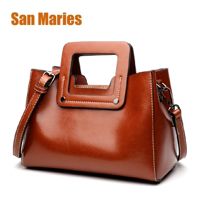 05f8bbd7ba1f7 San Maries Women Bag 2018 Luxury Brand Designer Casual Women Genuine  Leather Handbags Fashion Women's Shoulder Messenger Bags