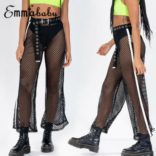 New Fashion Women's   Wide     Legs   High-waist Hollow Mesh Fishnet Loose   Pants   Lady Summer Sexy Club Party Cover-up Trousers S-L
