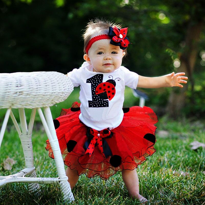Toddler Baby Girl 1st Birthday Sets Romper Tutu Skirt Headband Infant Clothing Set 1 Year Baby Summer Clothes Kids Party Outfits