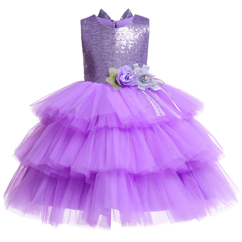 First Communion Dresses Flower Girl Dresses Girls Party Dress Multi-layer Sequin Open Back Bow Princess Dress Baby Tutu Costume