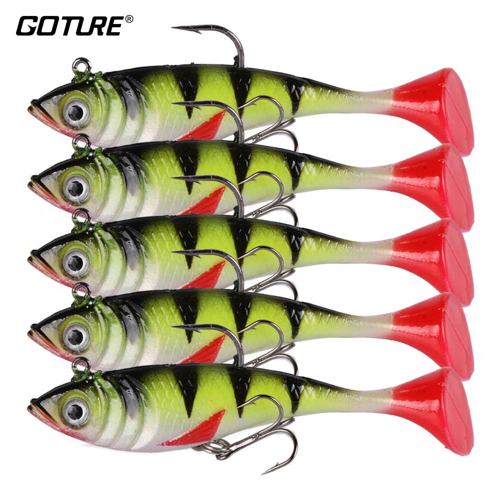 Goture® 5pcs//lot Fishing Lures Soft Silicone Baits Lead for Bass Carp Fishing