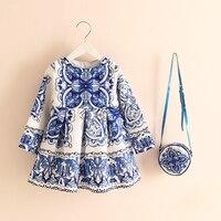 Printed Girls Dress Spring Princess Graffiti Child Clothes Party Wedding Dress Bag 2Pcs Kids Clothing Infant