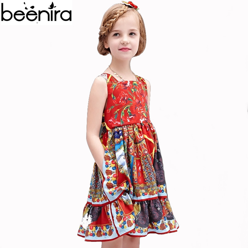 New Summer Children Dress Girls Cotton Flowers Print for Princess Baby Vest Royal Court Pattern Clothing For Party High Quality large girls 2015 new winter children s clothing vest dress princess dress children dress hot batch