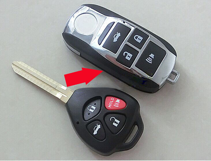 Gaya baru ! 4 Butang Modified Folding Flip Remote Key Shell Case For Toyota Camry Avalon Corolla RAV4 Venza Yaris Fob Key Cover