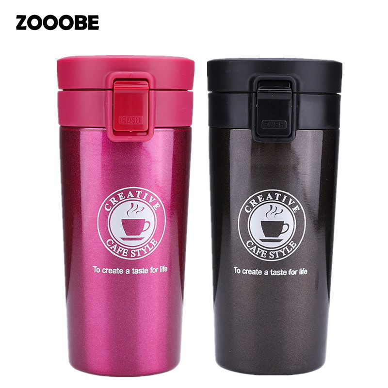 ZOOOBE Double Wall Thermos Keep Mug Seal Stainless Steel vacuum flasks Travel Coffee Milk Tea Thermo mug for Car My Water Bottle