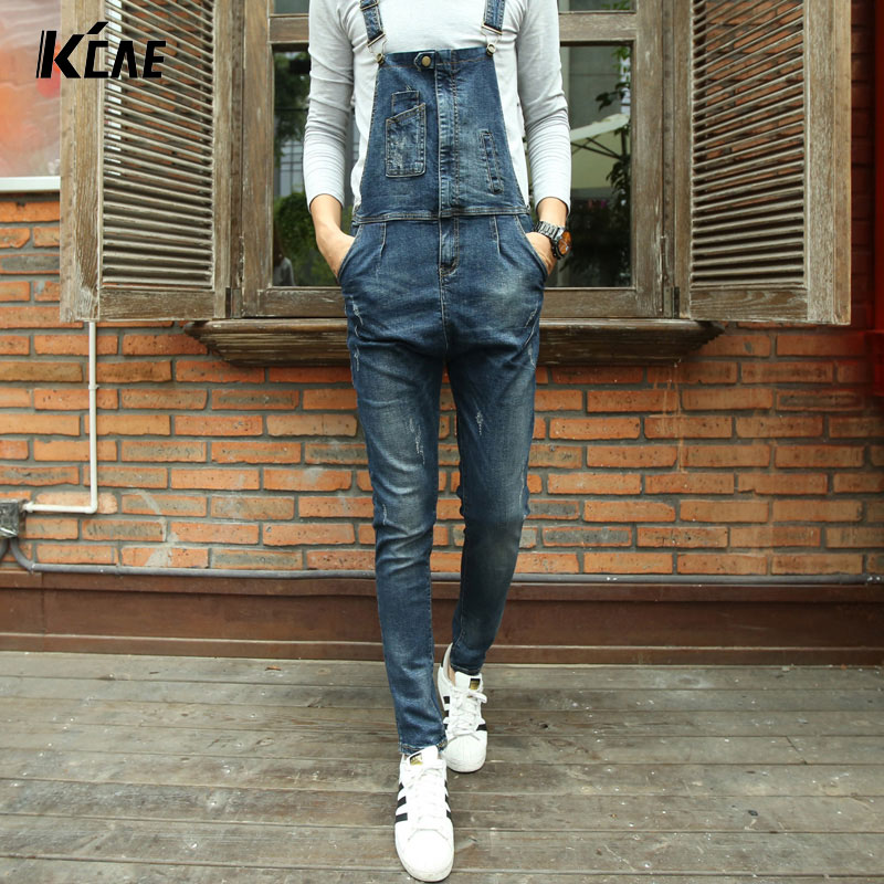 ФОТО fashion bib denim overalls for men 2016 Brand long solid blue slim cowboy overall cotton skinny overalls men's jeans Size 28-34