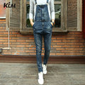 fashion bib denim overalls for men 2016 Brand long solid blue slim cowboy overall cotton skinny overalls men's jeans Size 28-34