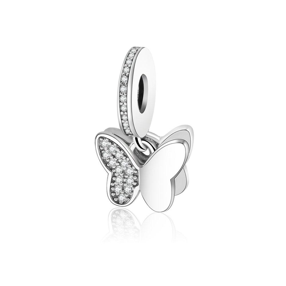 2017 Summer Authentic 925 Silver Charm Fit Pandora Charm Original Bracelet Fluttering Butterfly Pendant With CZ Beads Berloque