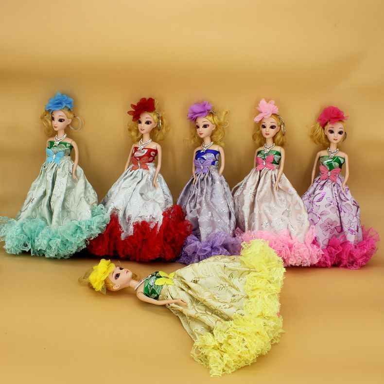 30CM 3D eye joint flower cloth baba confused doll big wedding dress key ring pendant bride doll multicolor mix and match