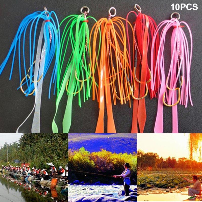 10pcs Silicone Luminous Fishing Baits with Hooks Skirt Assist Hook Lure Random Color C55K Sale