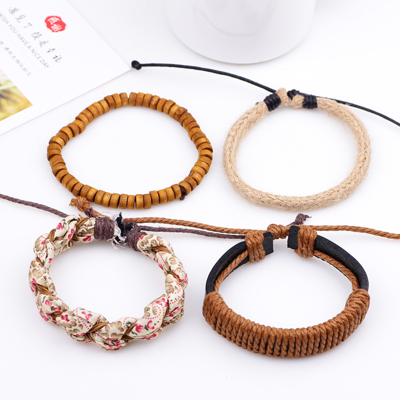 Linnor 2017 New Romantic 4pcs/set Braided Rope Bracelet for Women Cloth Flowers Wood Beaded Braslet Bangle Pulseras Mujer