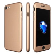 Luxury 360 Degree Full Protection Case For iPhone 7 7 Plus iPhone 6 6S Plus 5 5S SE Hard PC Coverage Cover + Clear Glass Film