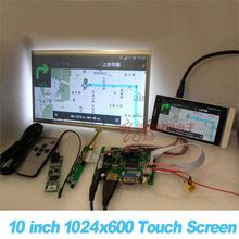 כל חדש 10 אינץ 1024*600 פטל Pi 3 LCD מגע מסך ערכת גיבוי אוטומטי מכונית תצוגת צג סט HDMI VGA USB AV מרחוק