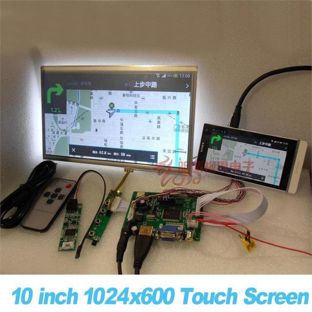 """Комплект Raspberry Pi с 10"""" дюймовым сенсорным экраном 1024x600 для автомобиля с поддержкой HDMI VGA USB AV"""