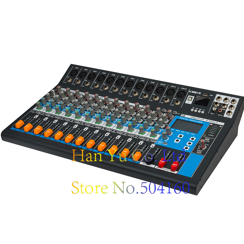 Professional Karaoke Audio Mixer 12 Channel Amplifier Microphone Sound Mixing Console With USB 48V Phantom Power leory professional digital microphone sound mixing console 48v phantom power 7 channel karaoke audio mixer amplifier with usb