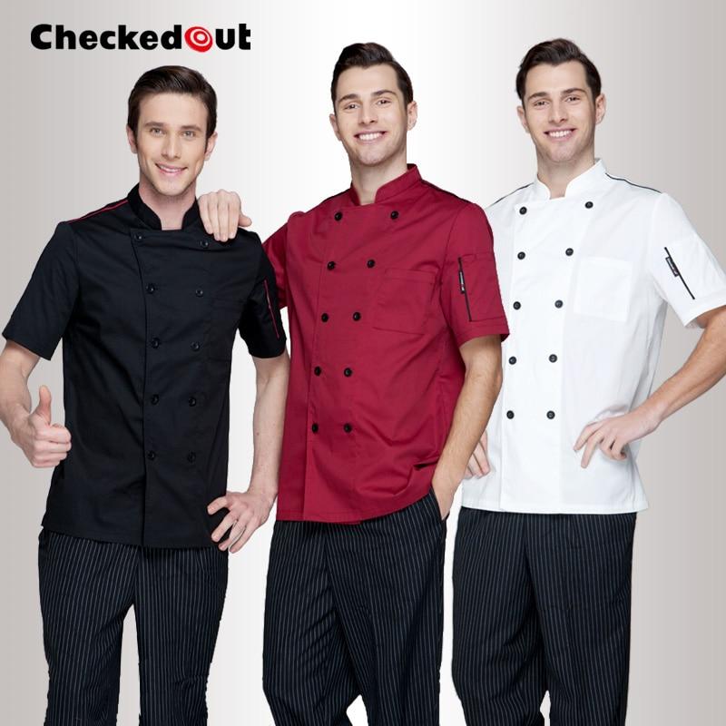 Hotel Chef Wear Short Sleeved Adult Kitchen Restaurant Kitchen Clothing Male Chef Uniform Lady Chef Jacket Plus Size  B-6258