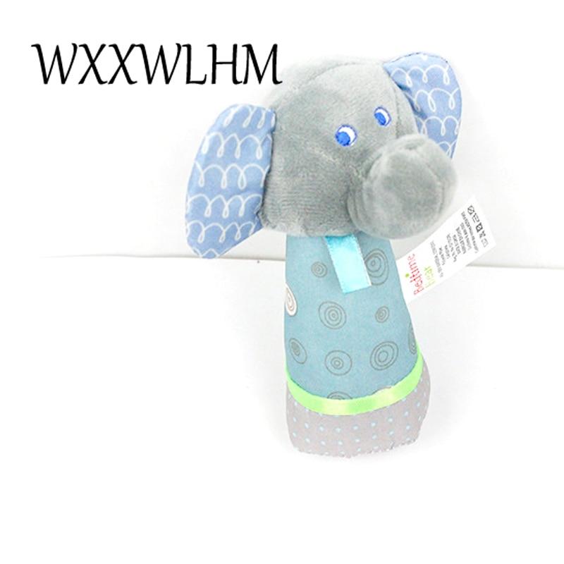 Elephant hand-cranked sticks children dolls Baby puzzle plush toys stufffed plush baby rattle animal plush doll