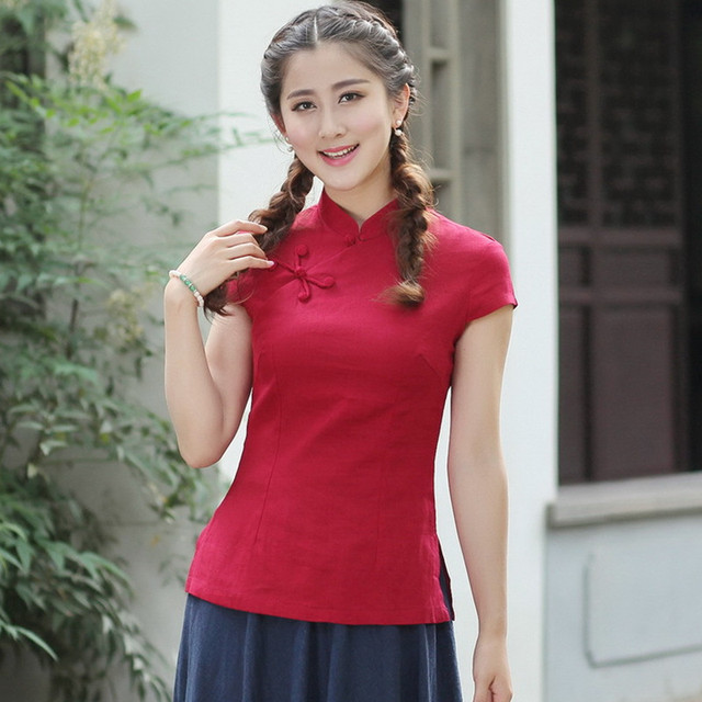 ec2861abb New Arrival Summer Chinese Style Cotton Linen Women Tang Suit Tops Blouse  Traditional Elegant Slim Shirt M L XL XXL XXXL 2518-3