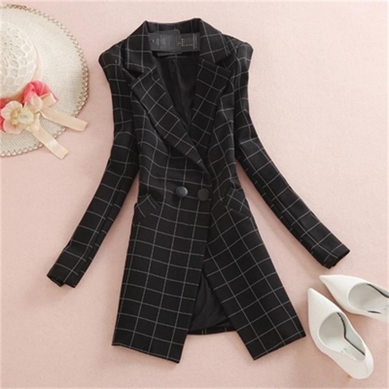 Plaid Blazers Female Jacket Women Coat New Long Ladies Small Suit Long Sleeve Casual OL Plaid Small Suit Jacket Women Blazer