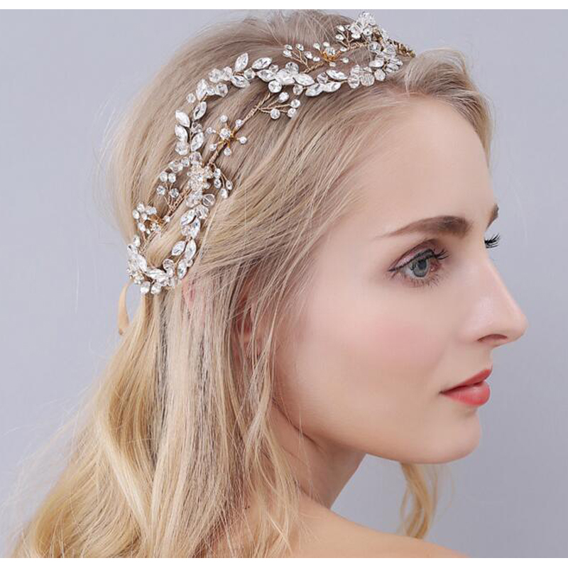 Clear crystal leaf tiara luxury bridal headband handmade hair vine wholesale hairband wedding crowns hair accessories цена 2017