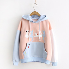 Winter Hoodie with Cute Cat Embroidery