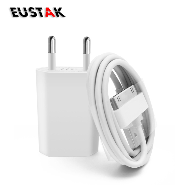 Travel EU Plug USB wall Charger for iphone 4s 4 Adapter Power & sync data Charging Cable for iPhone 4 4s Charger 3G FOR ipod