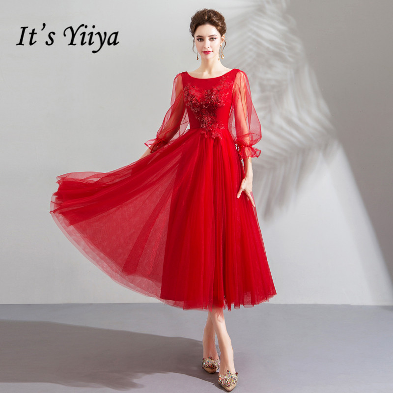 It's YiiYa   Prom     Dress   Lantern Sleeves Shining Sequins Crystal Party   Dresses   Embroidery Appliques O-neck Lace Up Formal Gown E209
