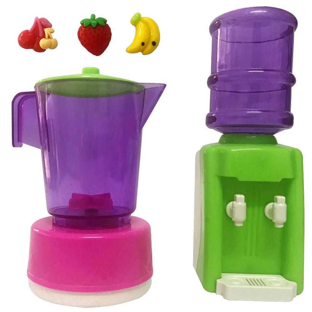 NK 5 Pcs /Set Plastic Mini Water Dispenser Juicer DIY Toys Dollhouse Home Kitchen Furniture Toys For Barbie Dolls Accessories