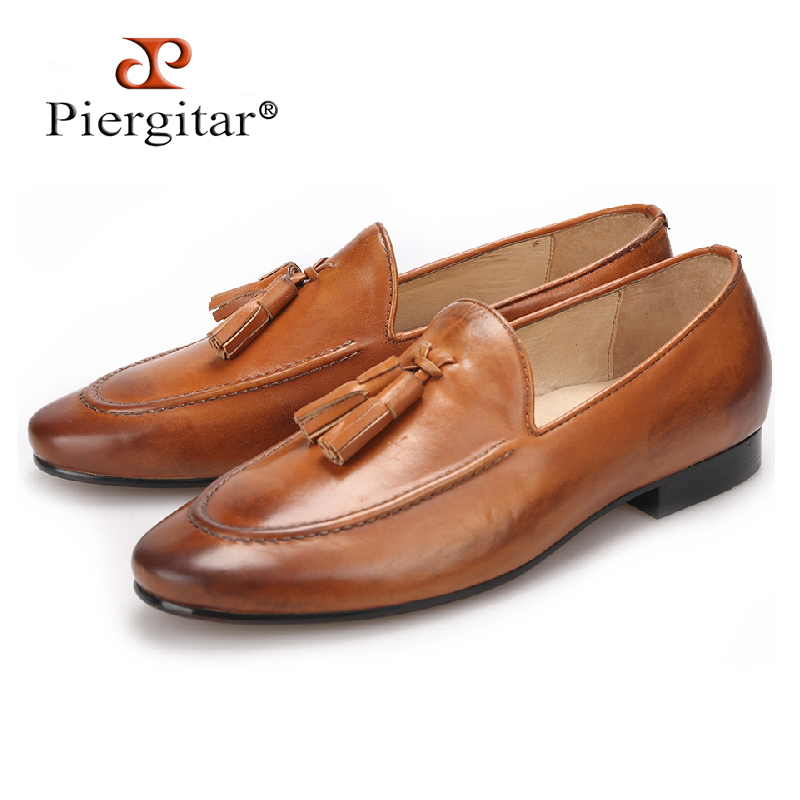 Piergitar Two colors men genuine leather shoes with leather tassel men handmade smoking slippers wedding and party men loafers piergitar men black genuine leather shoes with leather tassel british style men dress shoes wedding and banquet men loafers