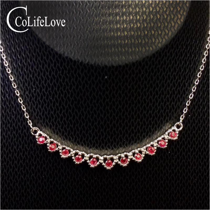 Elegant silver ruby necklace for evening party 11 pcs 2 mm * 2 mm ruby wedding necklace solid 925 silver ruby fine jewelry