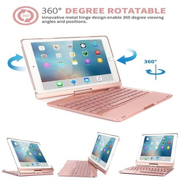 Wireless Bluetooth Keyboard Case and Cover with 360 Degrees Rotate Folio Slim Smart Keyboard Case For iPad Pro 10.5