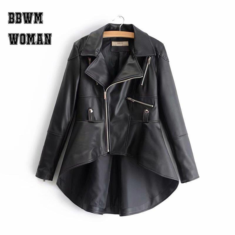 White Black Apricot Lapel Irregular Women Pu Jacket Zipper Young Lady Fashion 2018 Faux Soft Leather