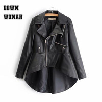 White Black Apricot Lapel Irregular Women Pu Jacket Zipper Young Lady Fashion 2018 Faux Soft Leather Coat Tops P7