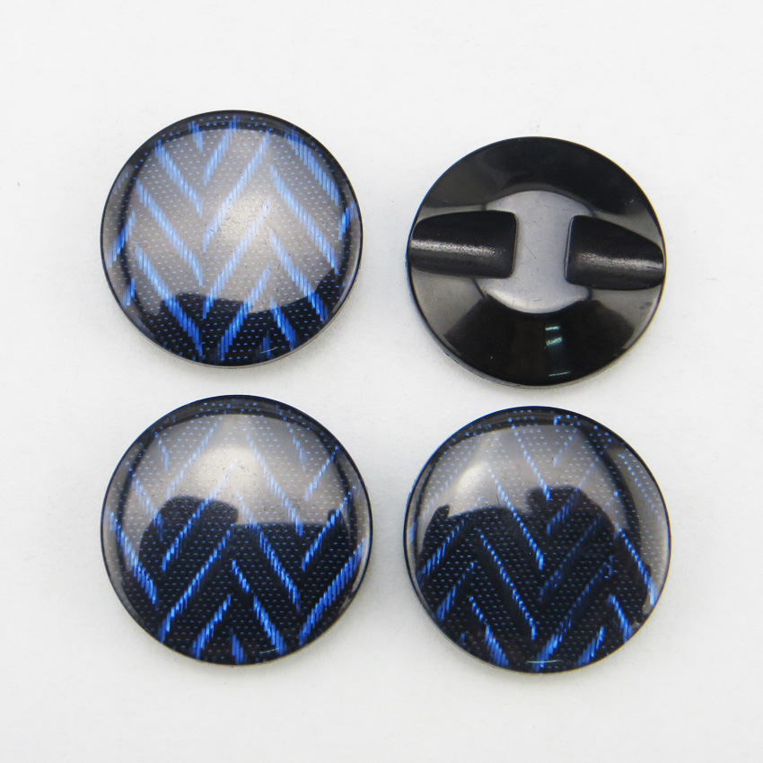 20PCS 21MM DEEP BLUE Dyed RESIN Stripe buttons coat boots ...