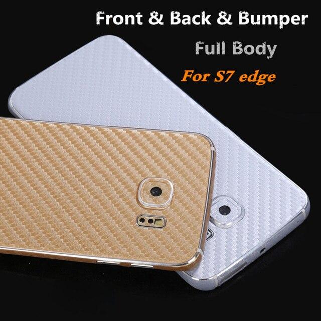 Avant + arrière véritable corps complet Ultra mince givré en fibre de carbone autocollant housse peau pour Samsung Galaxy S7 Edge G9350