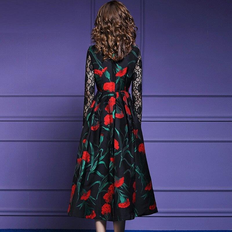 Rouge Vert A Femmes Boutique Automne cou Imprimer Mujer Feuilles Fleur Manches ligne Hiver Sans V Parti 2018 Réservoir Robe wqPggR