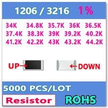 ОМ 1206 F 1% 5000 шт. 34 К 34.8 К 35.7 К 36 К 36.5 К 37.4 К 38.3 К 39 К 39.2 К 40.2 К 41.2 К 42.2 К 43 К 43.2 К 44.2 К smd 3216 резистор