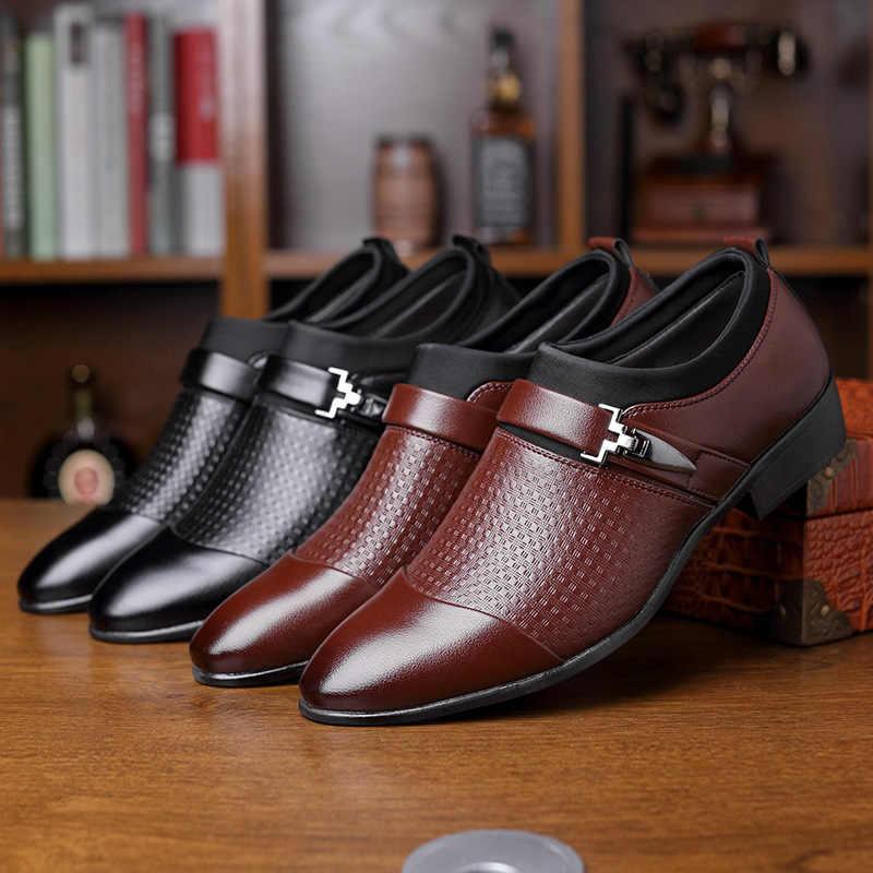 Mazefeng Mới Thương Hiệu Nam Chính Thức Giày Slip On Mũi Nhọn Bằng Sáng Chế Da Giày Oxford Nam Đầm Công Sở Plus size 38-46