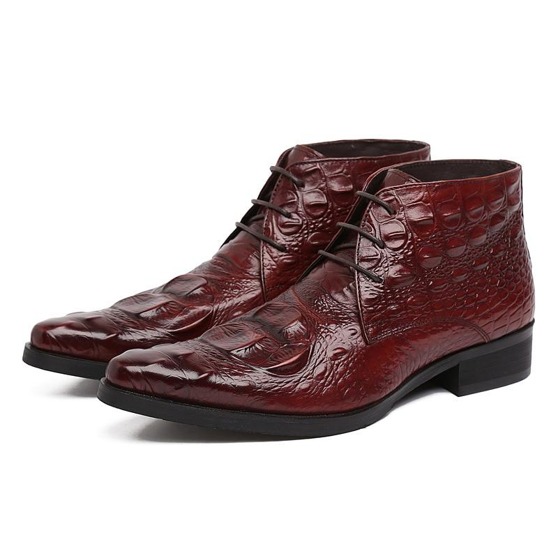 Խոշոր չափի EUR 45 կոկորդիլոս Հացահատիկային սև / շագանակագույն թուխ պաշտոնական հարսանեկան կոշիկներ տղամարդկանց կոճ կոշիկներ իսկական կաշվե տղամարդկանց աշխատանքային կոշիկներ