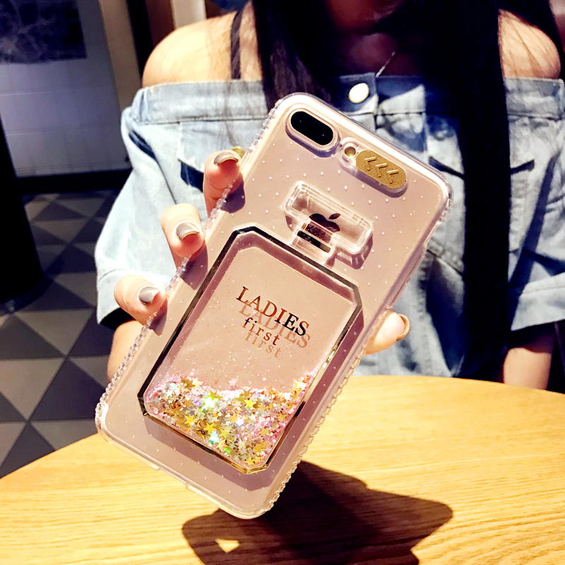 RHOADA LED Flash Light UP Perfume Bottle Soft Phone Case For iphone 5S 6s Plus Quicksand Bling Stars Phone Cover For iphone 7 6s